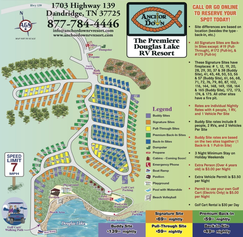 Anchor Down Site Map - Anchor Down RV Resort on